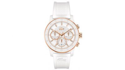 9d758a8fb3506 Relógio Lacoste Feminino Borracha Branca – 2000798 – LA00000360 – De R   690