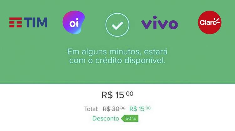 5d9f8006300 Recarga de Celular com desconto de 50% - Ofertas 24 Horas - Cupom de  Desconto + Ofertas 24 horas por dia!